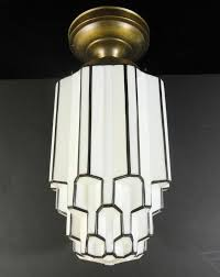 original 1930 s art deco skyser ceiling mount light fixture