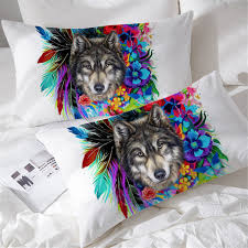 decorative pillow shams. Unique Decorative BlessLiving Boho Wolf Pillow Shams Colorful Flowers Feathers Decorative  Cases Set Of 2 Animal Watercolor Intended L