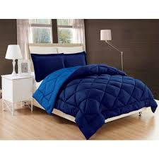 down alternative navy and light blue reversible twin twin xl comforter set