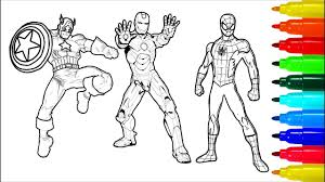 Spiderman is one of the most popular creations of marvel heroes. Spiderman Hulk Iron Man Coloring Pages Colouring Pages For Kids With Colored Markers Youtube