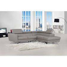 delia grey bonded leather modern sectional sofa set on free today 9284150