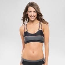 Womens Mesh Racerback Bralette Bikini Swim Top Black