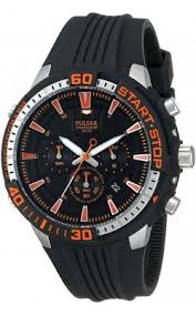 buy pulsar watches shipping on pulsar watches from watchco pulsar mens chronograph stainless watch black polyurethane strap black dial pt3513