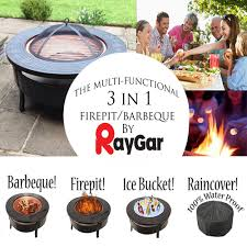 raygar multifunctional round 3 in 1 metal garden fire pit bbq ice bucket patio