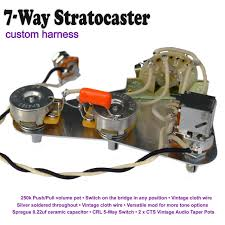 deluxe 7 way stratocaster strat wiring kit push pull pot hand image 1
