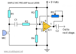 mic preamp circuit diagram the wiring diagram simple mic pre amp based lm358 schematic design circuit diagram