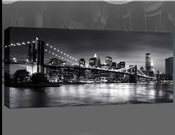 new york brooklyn bridge panoramic black white canvas wall art 44 x 20 inch