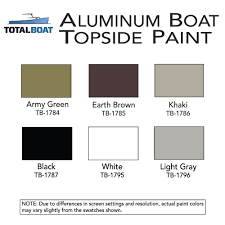 totalboat aluminum boat topside paint color chart