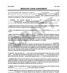 Lease Agreement Format Missouri Residential Lease Rental Agreement Create Download