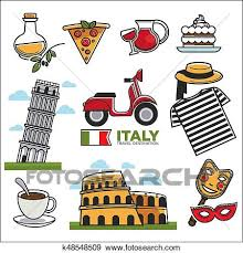 Traditional Symbols Clip Art Of Italian Traditional Symbols Colorful Vector Set On White