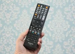 onkyo remote. sarah tew/cnet onkyo remote