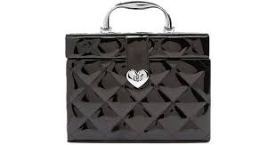forever 21 women s quilted faux patent leather train case in black lyst