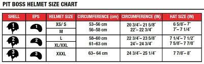 Bell Size Chart Bell Pit Boss Sport Helmet
