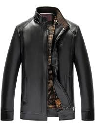 unique stand collar zip up fake leather jacket black xl