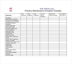 Heavy Equipment Maintenance Schedule Template Printable