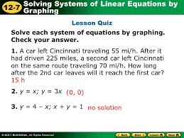 lesson quiz solve each system of equations by graphing check your answer