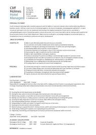 Hotel General Manager Resume Inspiration Hotel Manager CV Template Job Description CV Example Resume