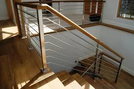 Oak & Stainless Steel Interior Railing contemporary-staircase