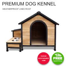 pet dog house kennel pet timber wooden log cabin storage box bowls extra large