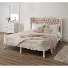 Wondrous White Finished Wooden King Size Upholstered Tufted Bed ...