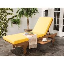 safavieh newport teak brown outdoor patio chaise lounge chair with yellow cushion