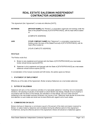 Real Estate Salesman Independent Contractor Agreement - Template ...