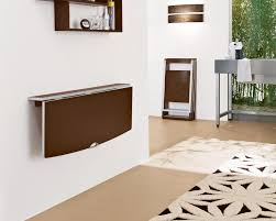 wall mounted drop leaf table painted with dark brown color for small wall mounted glass dining