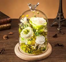 10 pcs eternal wedding preserved flower arrangement rose in glass dome as wedding giveaways
