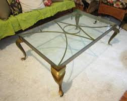 Vintage Brass And Steel Glass Coffee Table PICK UP ONLY