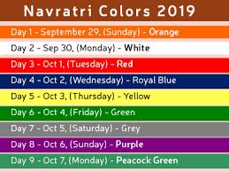 2018 Ram Color Chart Navratri Colors 2020 Navratri 9 Days Color List