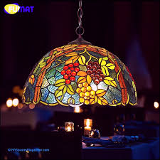 fumat stained glass pendant lamp vintage g glass light living