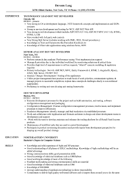 Net Developer Resume Sample Dot Net Developer Resume Samples Velvet Jobs 49