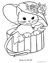 Cat Coloring Pages Letscoloringpagescom Cute Cat With Hat Free