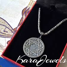 925 sterling silver kings chain necklace with seal of solomon pendant