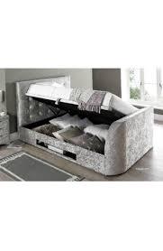 Ottoman Bedroom Storage Super King Size Barnard Crushed Silver Fabric Tv Ottoman Storage