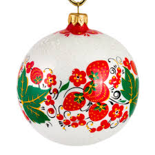 Strawberry White Khokhloma Patterns Collection Christmas Ball Ornament
