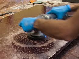 polishing concrete countertop