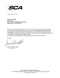 GL Report from Southern California Aviation, LLC, Regarding Transfer of  Self-Luminous Exit Signs.