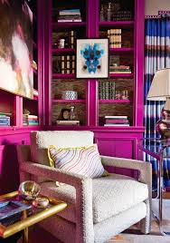 pink home office design idea. Decorating With Jewel Color Tone Rooms Hot Pink Bookshelf Fuchsia Feminine Library Office Ideas Girly Eclectic Home Design Idea S