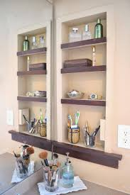 open face medicine cabinet with wooden shelves