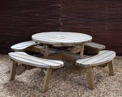 round picnic table 8 seater round picnic table with chair backs