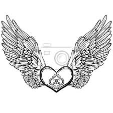 Obraz Line Art Ilustrace Andělské Křídla A Srdce Vintage Tisk Pro