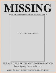 Missing Person Poster Template Stunning Missing Person Flyer Template Erkaljonathandedecker