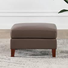 antonia brown leather footstool