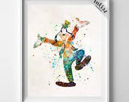 disney office decor. goofy print poster watercolor art decor disney office