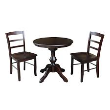 international concepts piperton 36 in round pedestal dining table set with 2 copenhagen chairs hayneedle