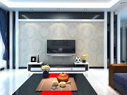 Luxurious Living Room Design With TV On The Wall Ideas Finished With  Decorative Wallpaper Design And