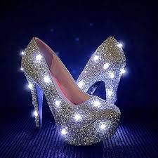 Light Blue Glitter Heels Led Glitter High Heels Silver Light Up Pumps Glitter High