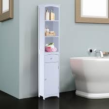 Hom Bathroom Storage Cabinet Tall Towel Organizer Wood Tower