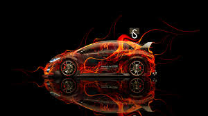 honda civic type r side fire abstract car